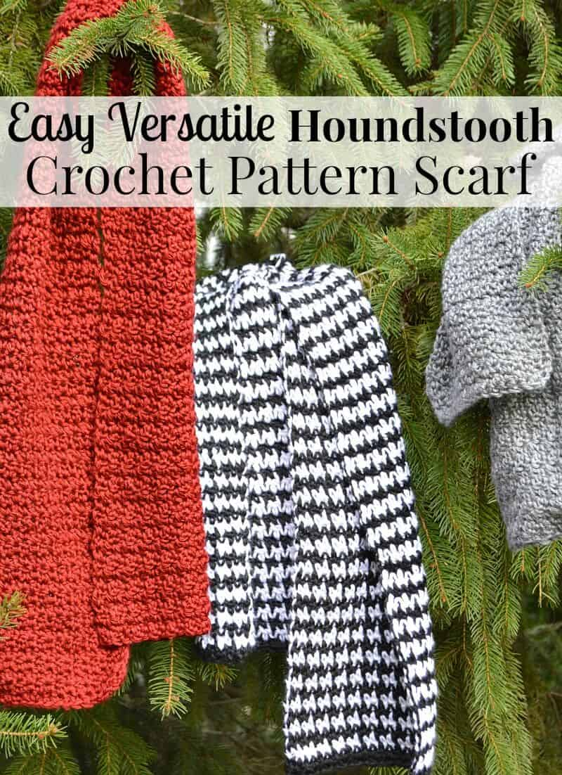 This Houndstooth Crochet Pattern scarf is so easy to make and so versatile. It looks uniquely different with each different color yarn.