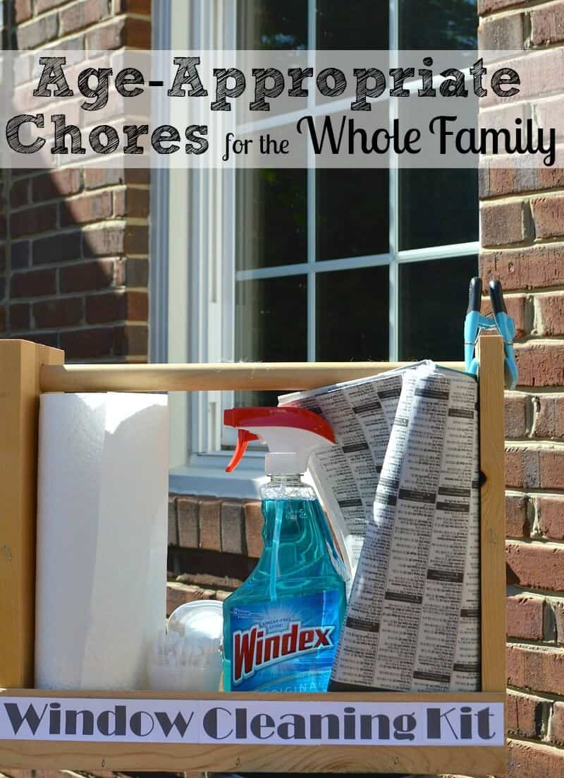 Age-Appropriate chores for kids and window cleaning tasks for the whole family. The family that cleans together builds stronger family bonds. #WindexMovieNight [ad]