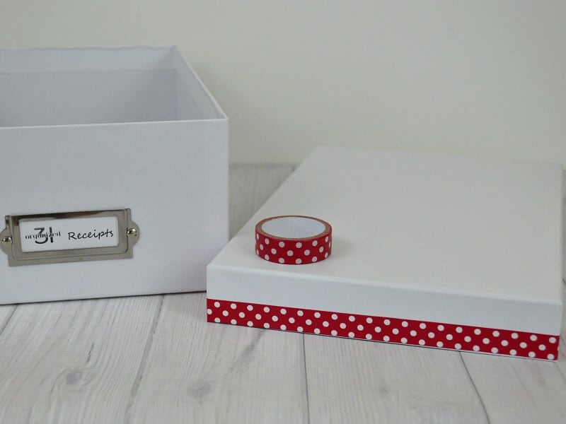 white photo box with red polka dot washi tape