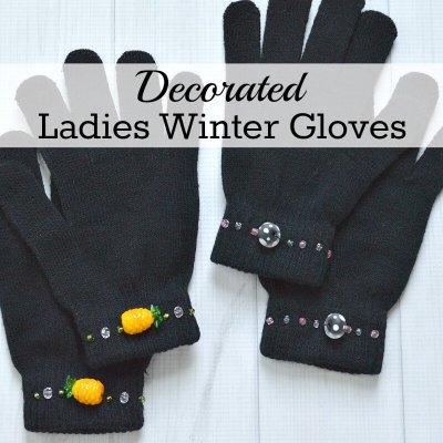 Decorated Ladies Winter Gloves