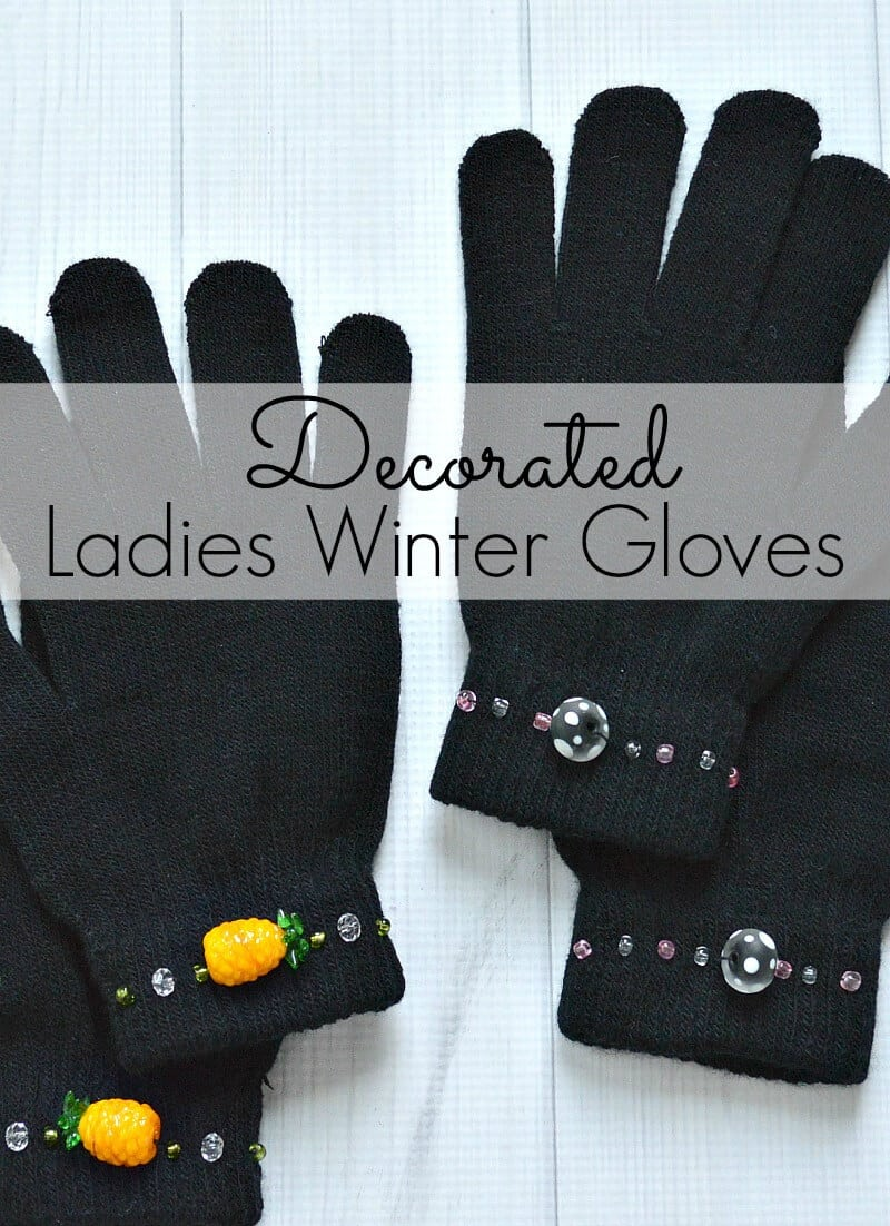 Decorated Ladies Winter Gloves v