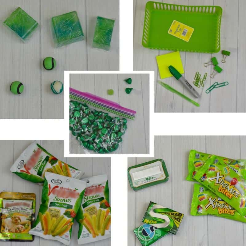 collage of 5 images of green gift and snack items