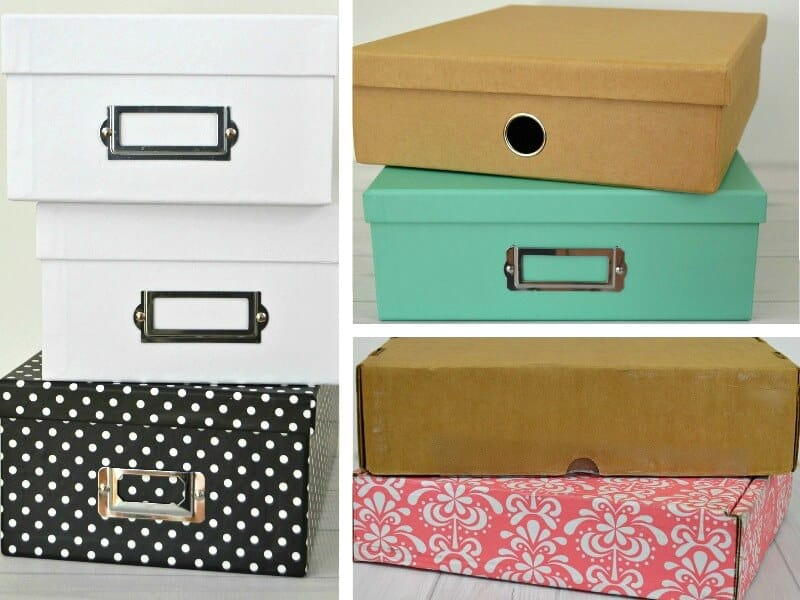 collage of 3 images of colorful stacked lidded boxes