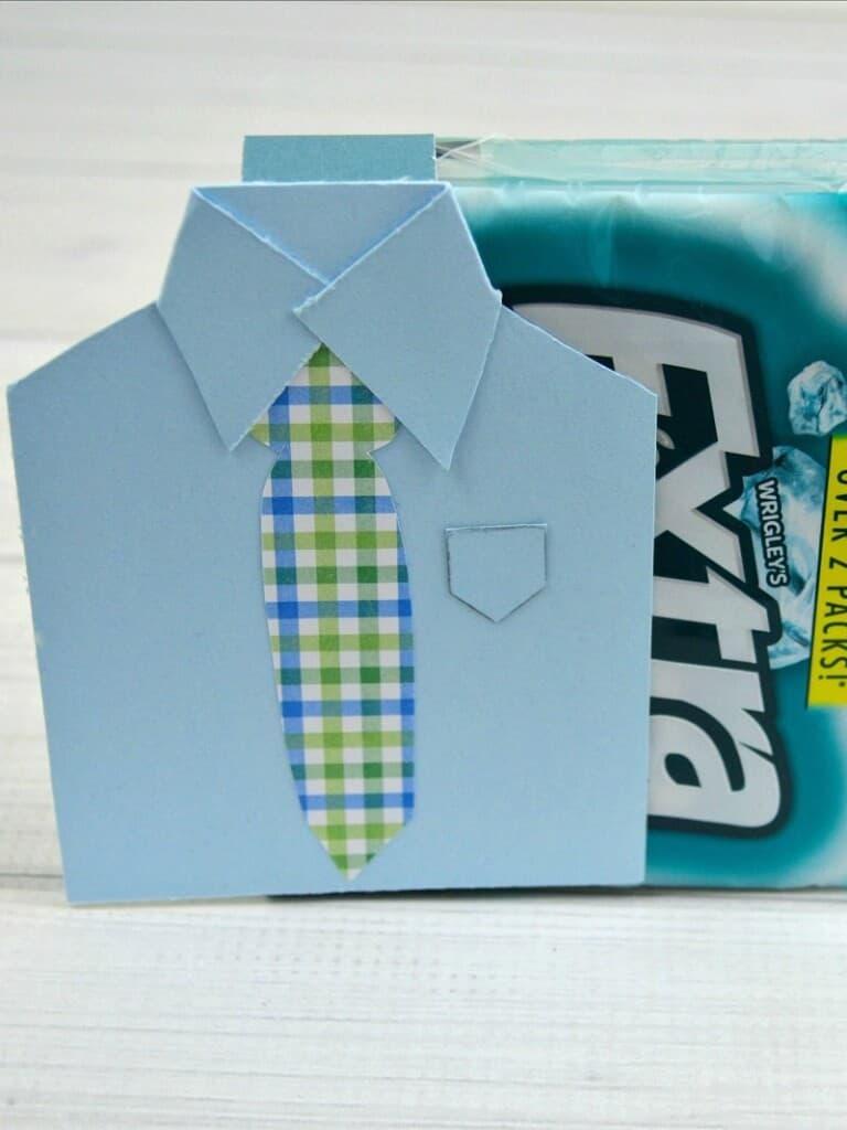 Closet up of paper craft of men's shirt as a DIY gift