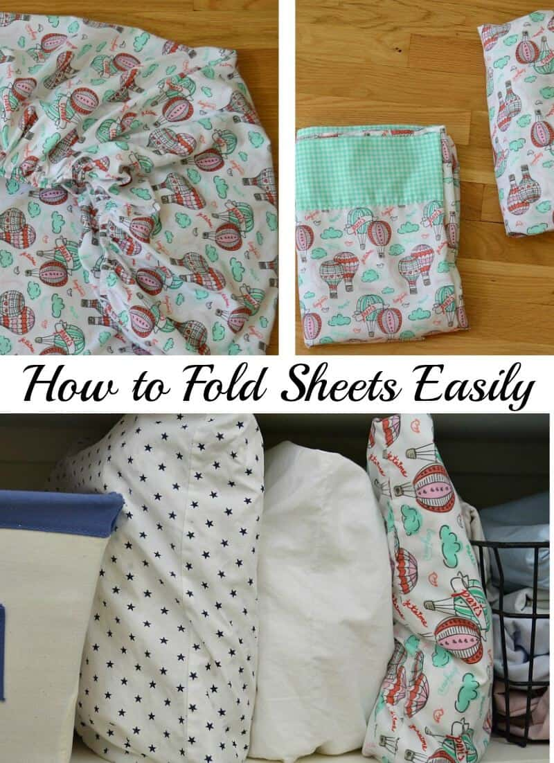 collage of 3 images of neatly folded sheets