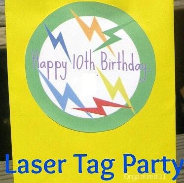 yellow laser tag birthday party invitation