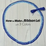Dark blue, light blue and white ribbon lei with text overlay