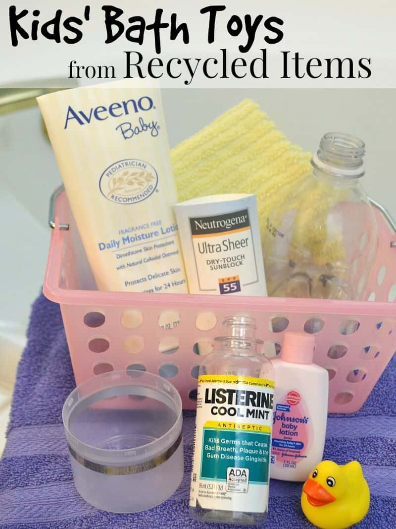 pink basket  holding plastic bottles, yellow washcloth on top of purple towel next to bathtub