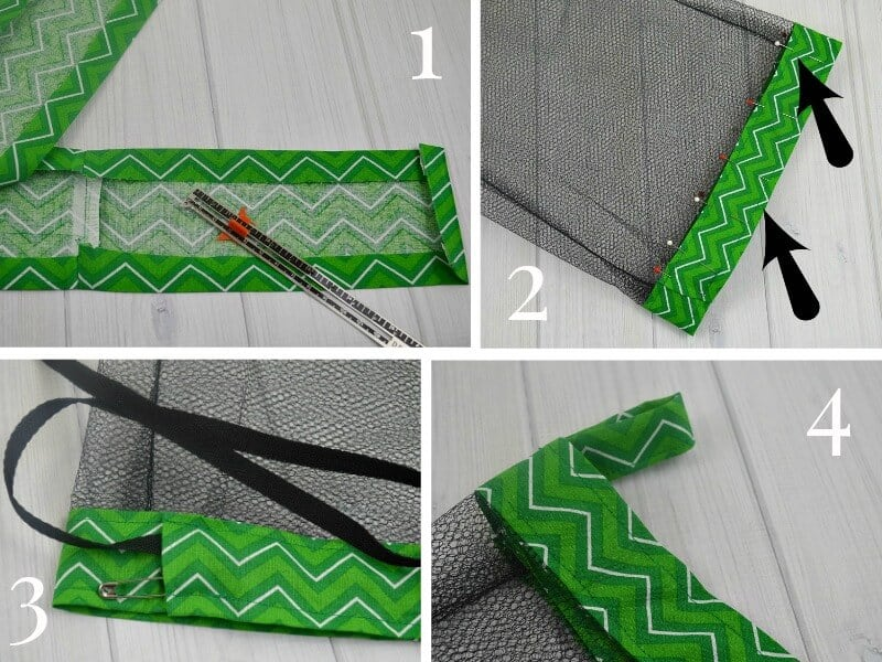 collage of steps to sew mesh laundry bag