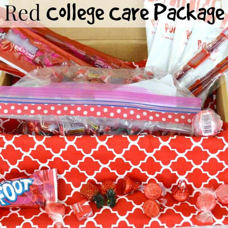 Use this Red College Care Package idea for Valentine's Day or for a red themed care package.