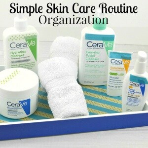 Tips for a simple skin care routine that busy women can really use every day. And an easy DIY washi tape decorated tray tutorial. #CeraVeSkincare [ad]