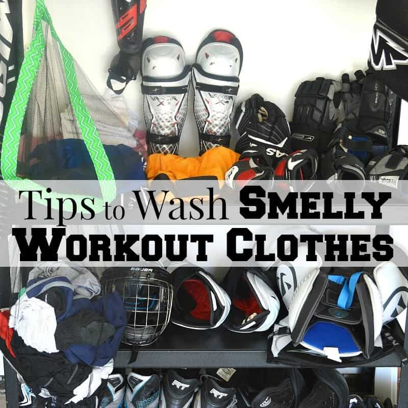 athletic equipment stacked on shelf with title text overlay reading Tips to Wash Smelly Workout Clothes