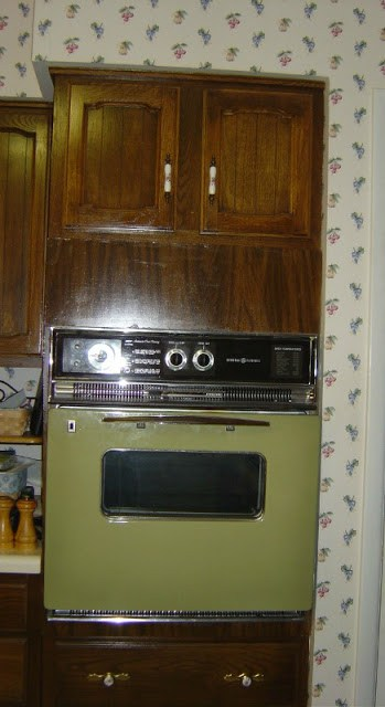 70's style avocado green wall oven