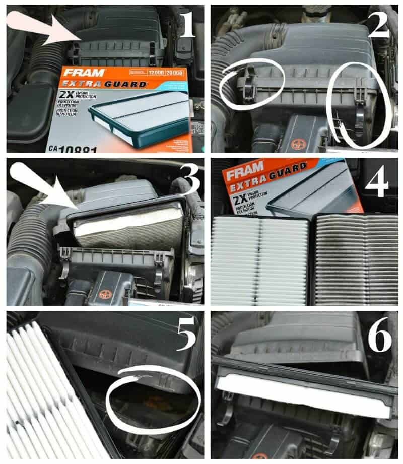 collage of six photos showing how to change car's air filter