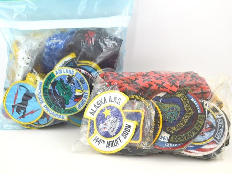 plastic bags of flight patches on table