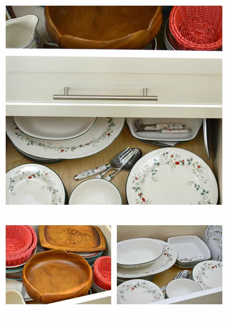collage of 3 images of kitchen dishes and baskets in open deep drawers