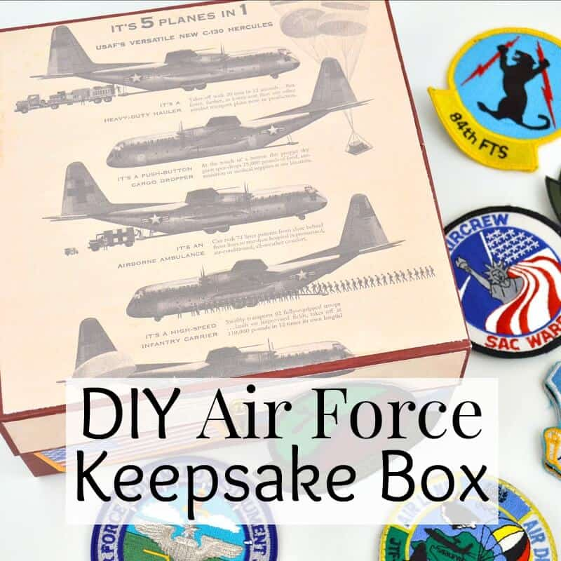 box with retro airplane images and flight patches scattered around