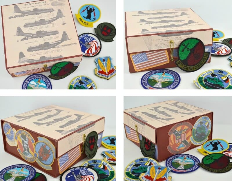 collage of 4  images of different angles of decorated box and flight patches