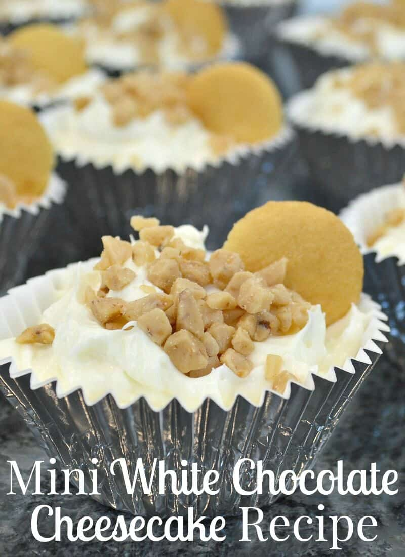 Make this easy white chocolate cheesecake recipe for a nostalgic no-bake treat. Making this family favorite dessert as a mini cheesecake is a fun twist on a delicious and easy-to-make recipe. #BiteSizedBitsOfJoy [ad]