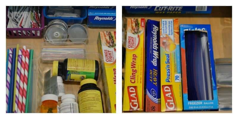 2 images of neatly organized kitchen drawer