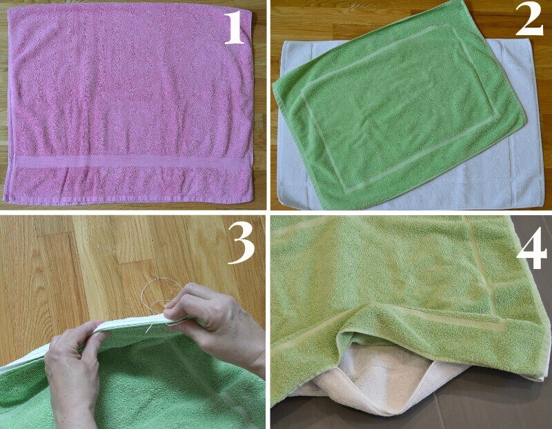 collage of 4 images of steps to make diy dog cooling mat