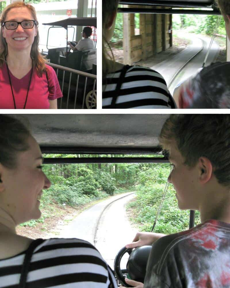 collage of 3 photos of family at car driving amusement park ride