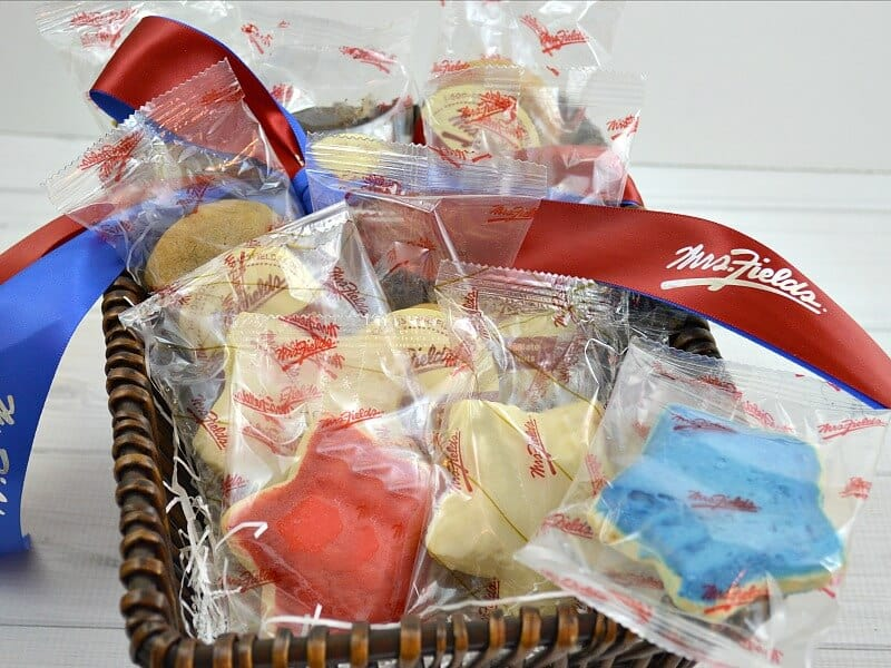 close up of basket filled with star shaped cookies