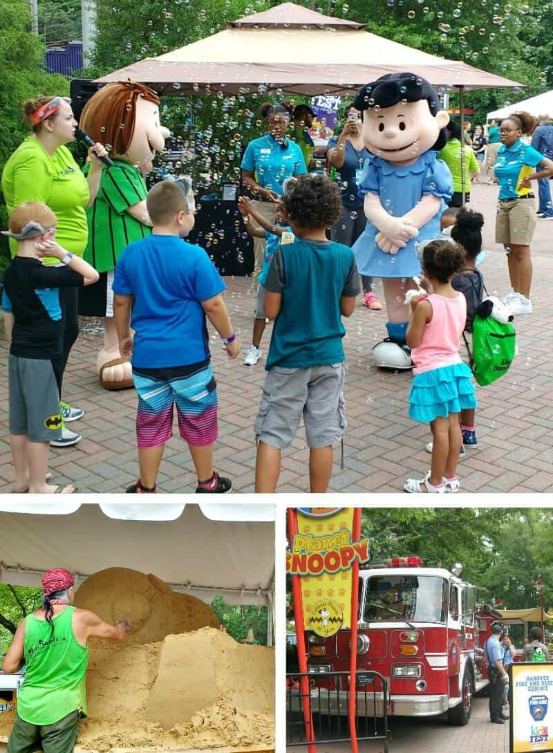collage of activities at amusement park with Snoopy characters