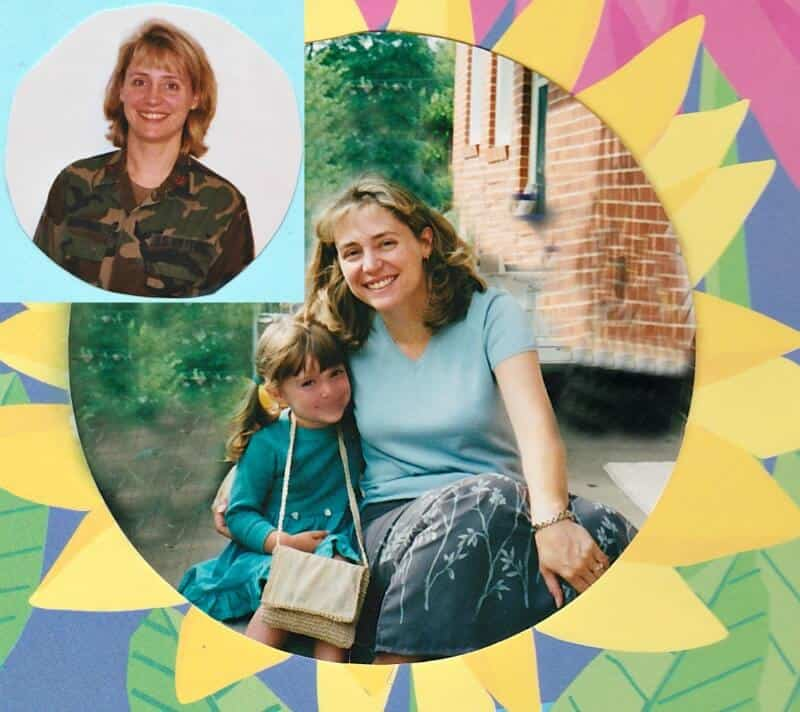 colorful scrapbook paper with mom and young daughter and insert of mom in military uniform