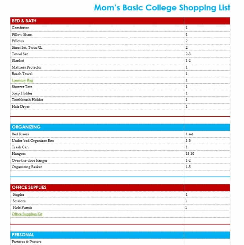 Wondering what you need for college? This free printable basic college supply list is mom-approved and created from the experience of sending two students away to college. #BigLotsReady [ad]