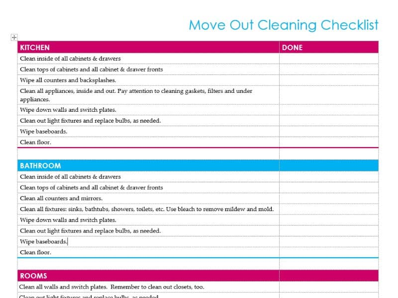 Rental Move Out Checklist For Cleaning  Organized