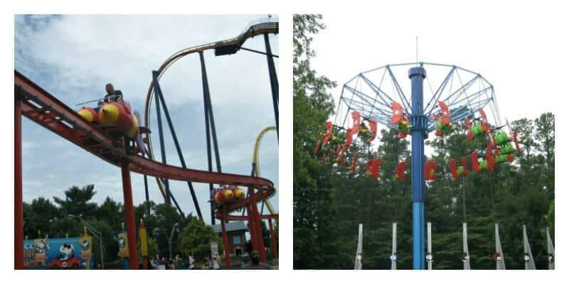 2 images of amusement park rides