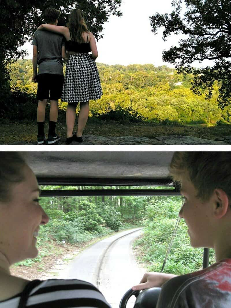top image - boy and girl overlooking wooded area, bottom image - boy and girl smiling at each other on amusement car