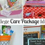 collage of 4 college care package in bright colors