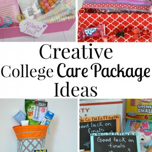 collage of colorful college care packages