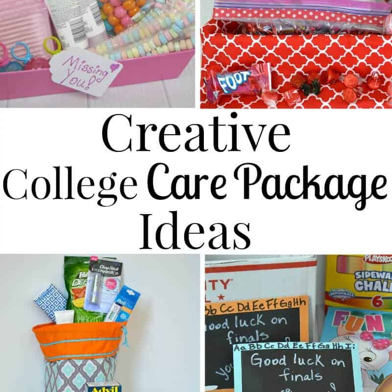 Collage of 4 college care packages with text overlay