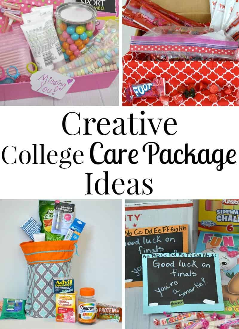 collage of 4 different colorful care package ideas with title text reading Creative College Care Package Ideas