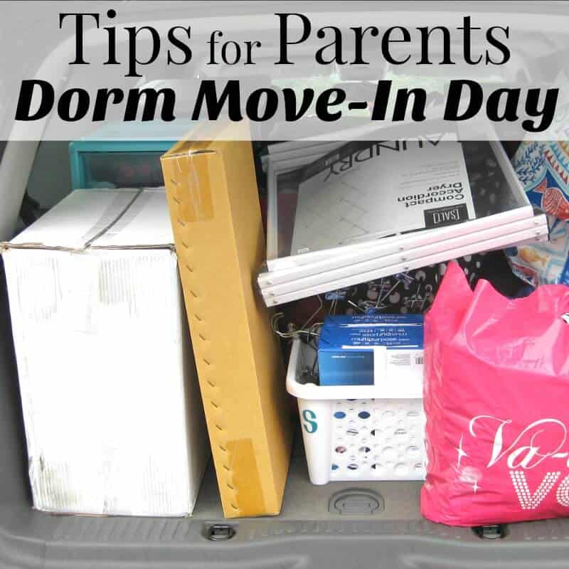 boxes, bags and items packed in an open car trunk with title text overlay reading Tips for Parents Dorm Move-In Day