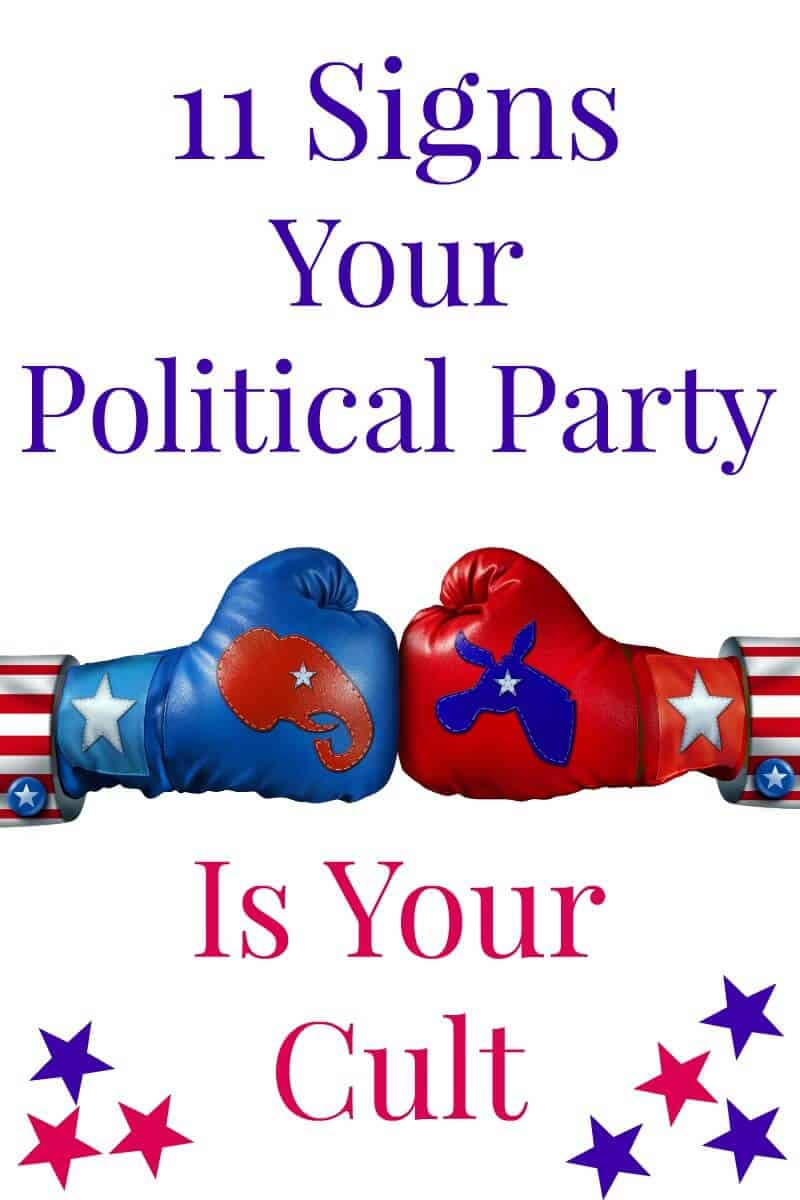 Two boxing gloves with political party symbols & text saying 11 Signs Your Political Party is Your Cult