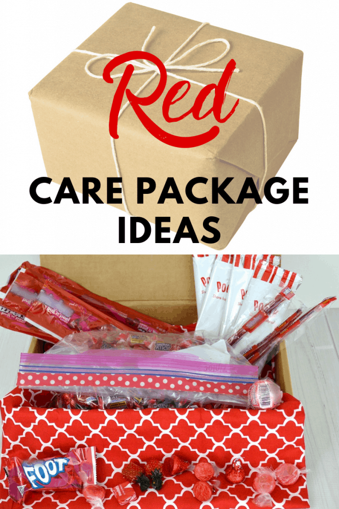 top image of package win brown paper with a white twine bow and bottom image of inside of care package with red colored items