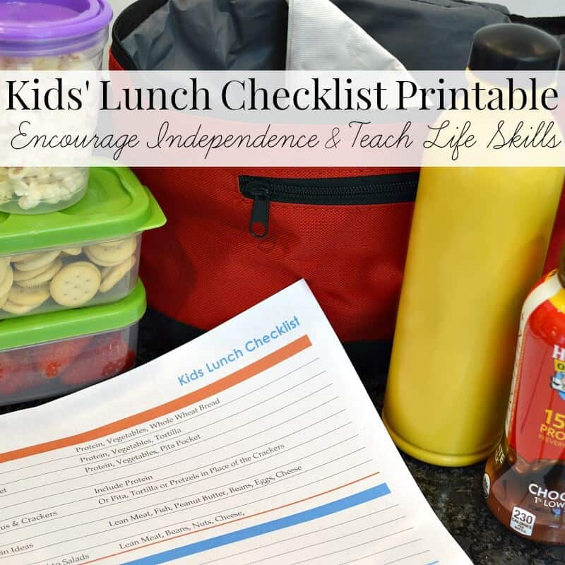 Use this Kids' Lunch Checklist Free Printable to encourage independence and teach life skills to children 8 through high school. #HorizonLunch [ad]