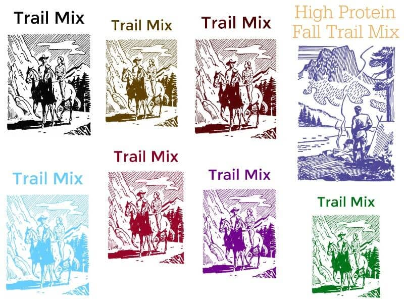 collage of 8 trail mix label images in different colors