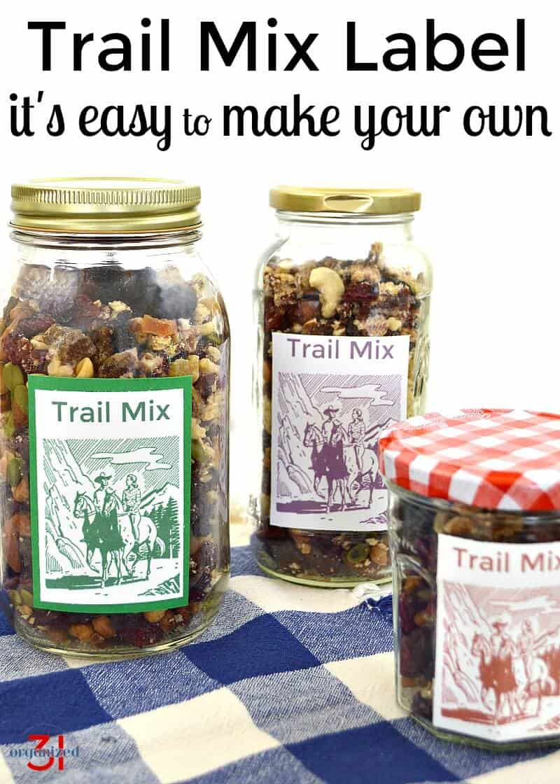 It's easy to make your own Trail Mix Label for pantry organization or gift giving.