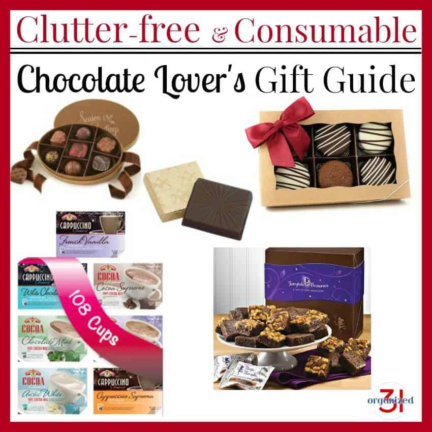 A collection of clutter-free consumable gifts in a Chocolate Lover's Gift Guide.