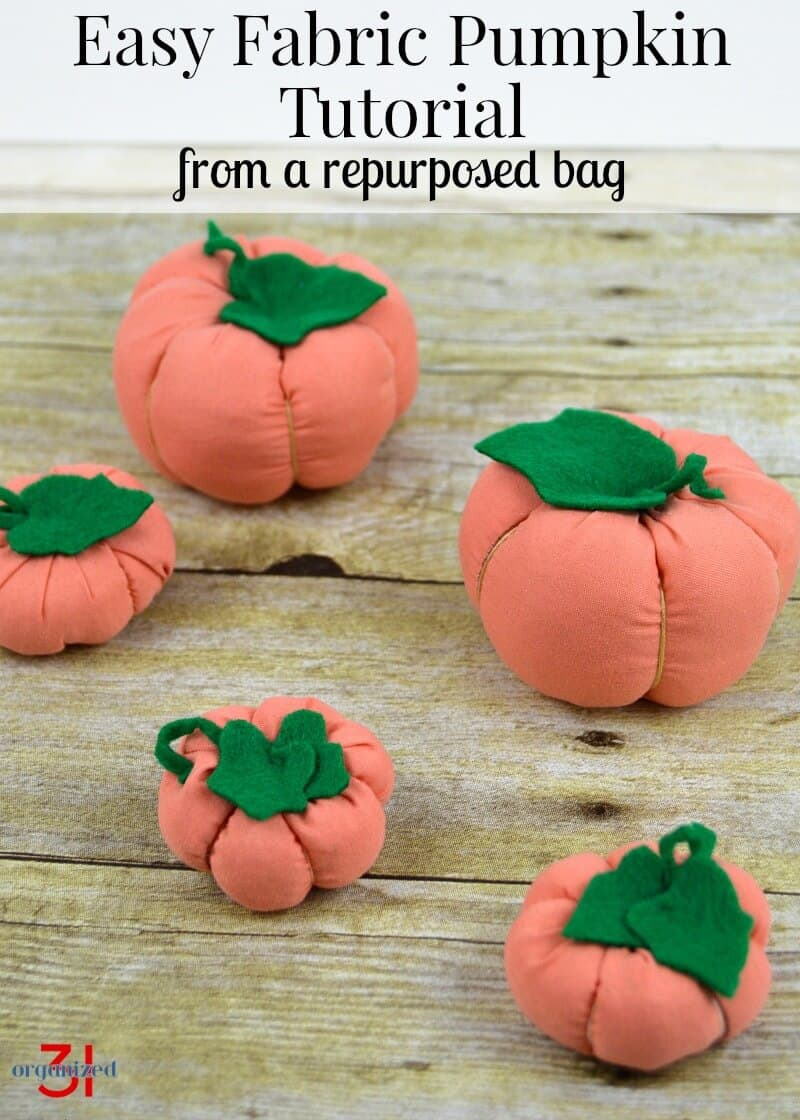 Make adorable fabric pumpkins with this easy fabric pumpkin tutorial for beginning sewing skills. They are perfect for fall or Halloween home and party décor and use upcycled bedsheet packaging.