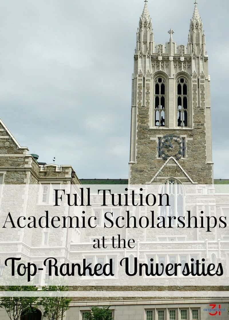 You can afford to attend a top-ranked university with this list of more than 19 full-tuition academic scholarships and graduate debt-free.