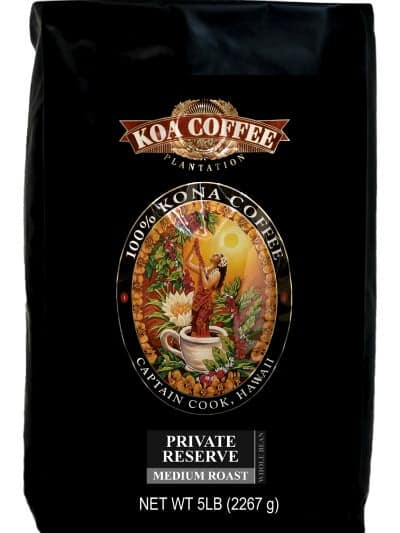 black bag of koa-coffee-5-lb