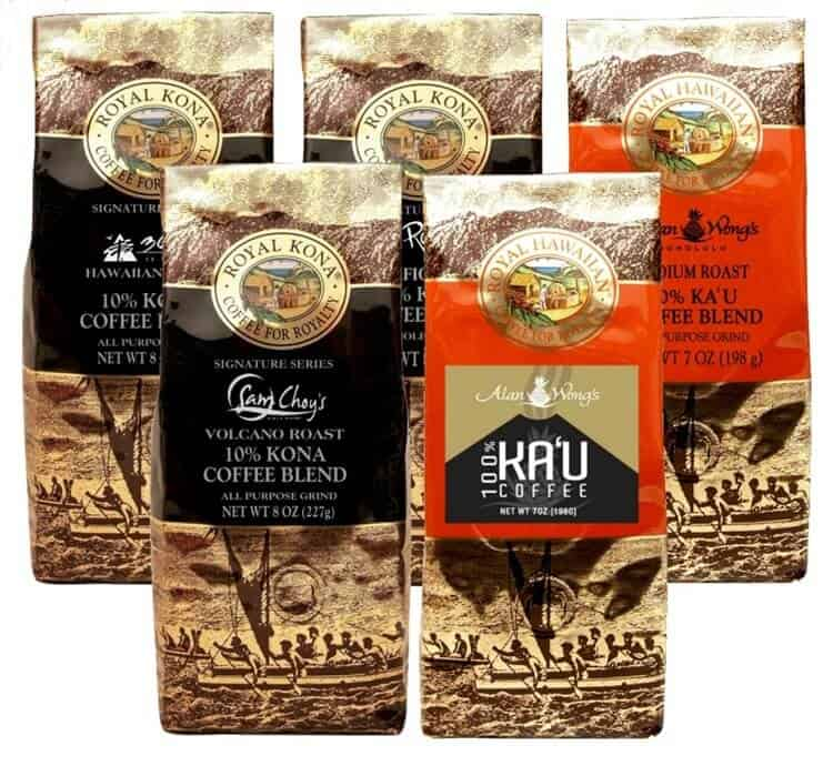 5 gold bags of coffee