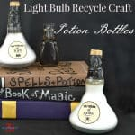 A light bulb recycle craft potion bottles for Halloween or any décor. Using repurposed light bulbs is easy to do and costs only pennies.