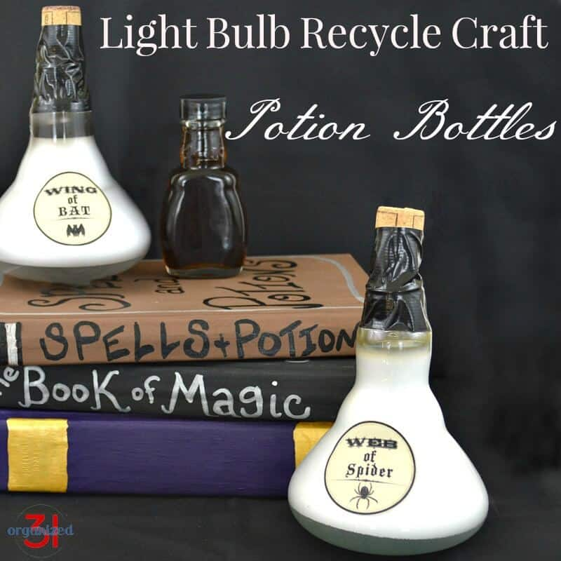 A recycled light bulb craft potion bottles for Halloween or any décor. Using repurposed light bulbs is easy to do and costs only pennies.
